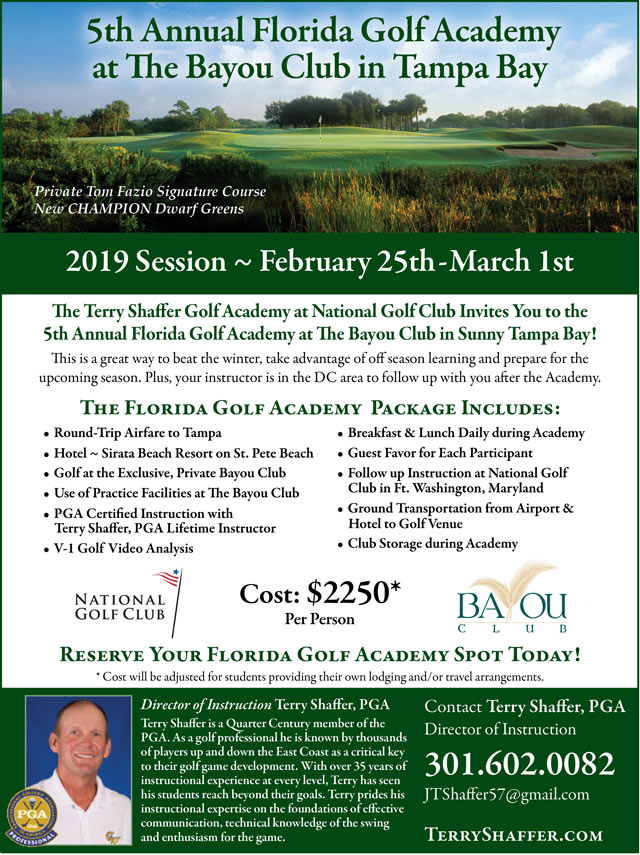 Flyer promoting 5th Annual Florida Golf Academy for more information call 301-602-0082