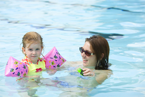 Photo - Woman and little girl swimming