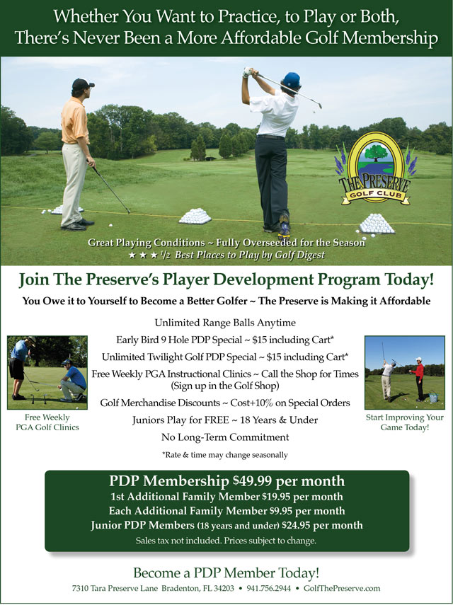 Image Player Development Program Promotional Flyer - To view text version go to http://www.golfthepreserve.com/-pdp-text-ony