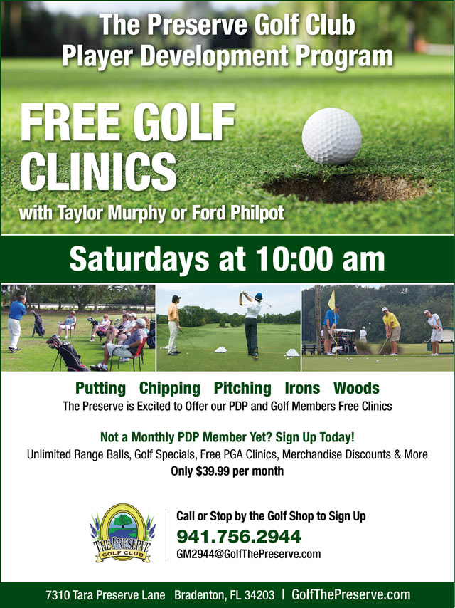 Image Player Development Free Clinics Promotional Flyer - To view text version go to http://www.golfthepreserve.com/-pdp-text-ony
