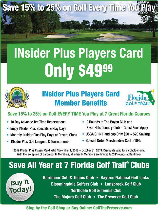 Image INsider Plus Players Card Promotional Flyer - To view text version go to http://www.golfthepreserve.com/-insider-plus-text-only