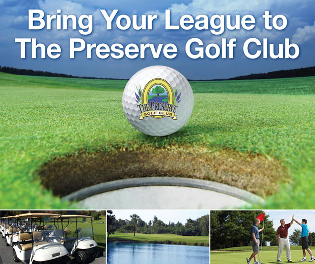 Photo collage with text that reads Bring Your League to The Majors and feathures close up of The Preserve Logo golf ball, a line of golf carts, a golf course fairway with flag stick in distance and three male golfer's celebrating on the green