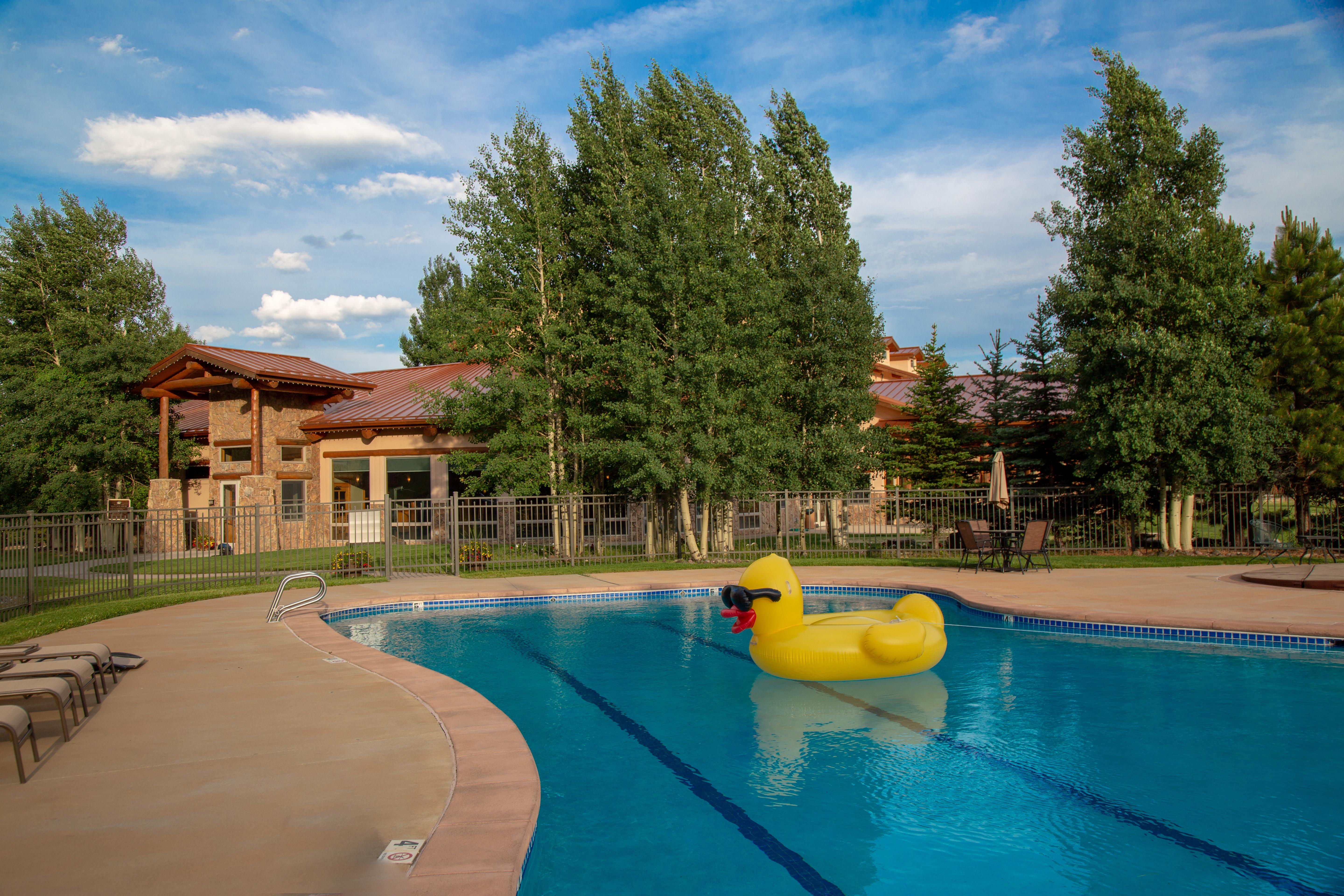 pool swimming complex with yellow duck in center
