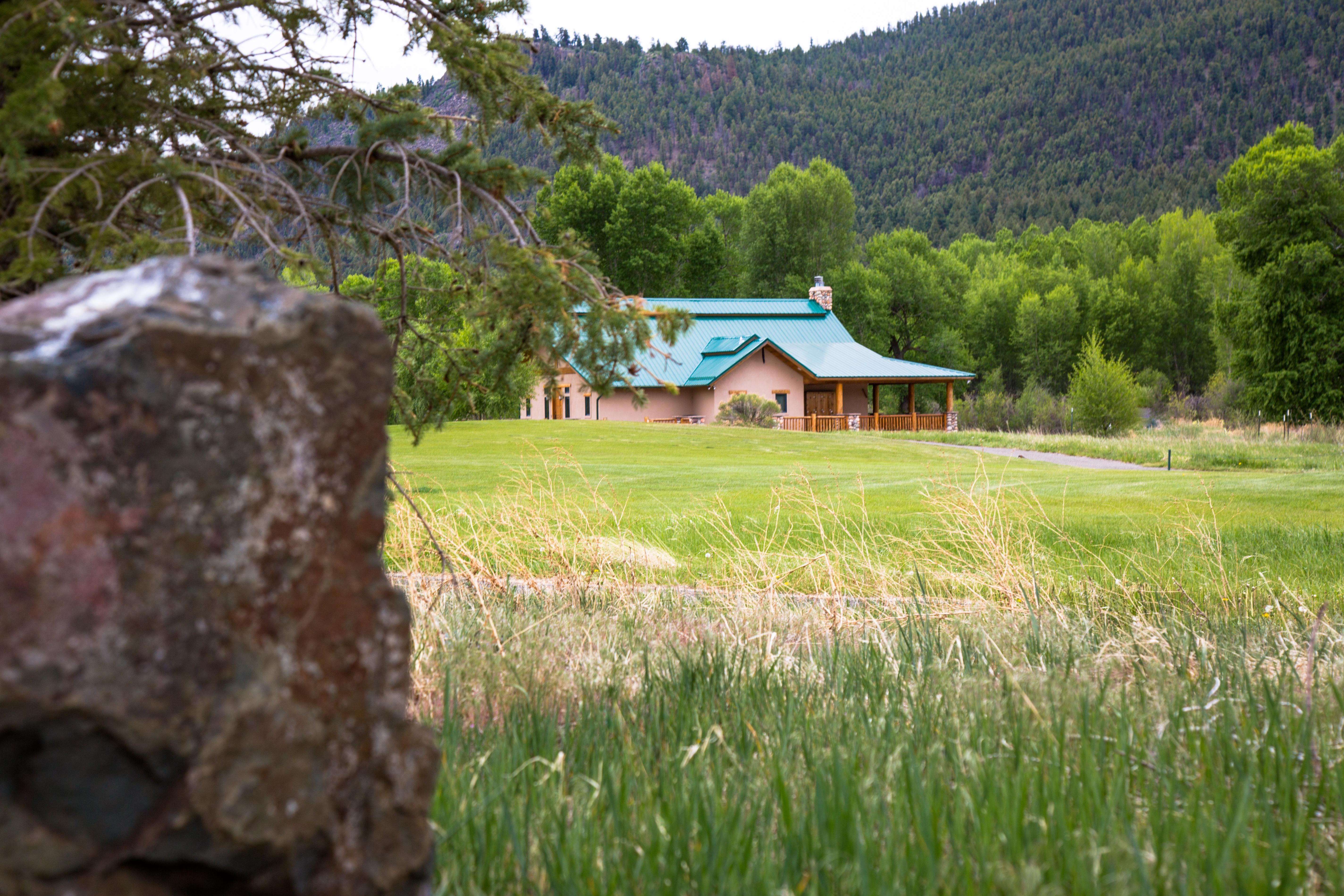 Rio Grande Club fishing lodge located on a green golf course