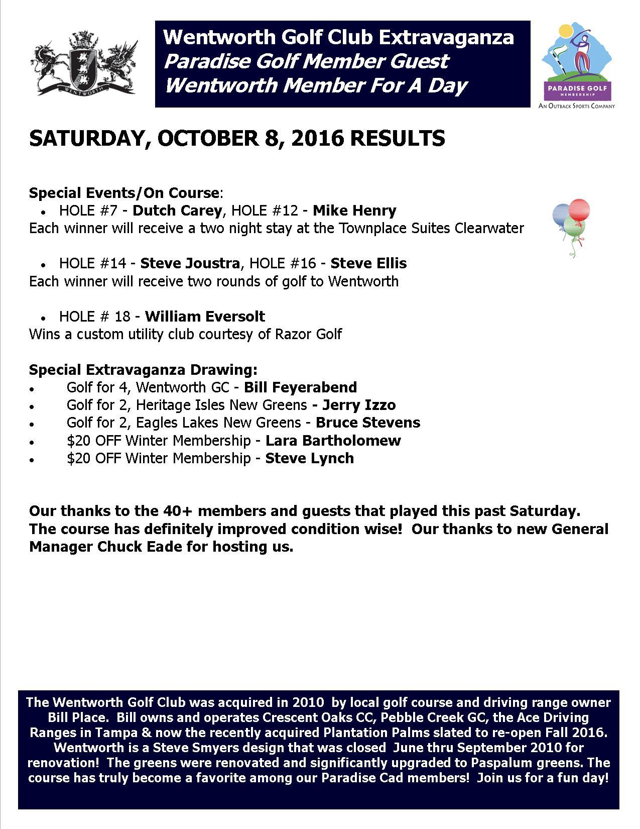 Results, Wentworth Extravaganza, Sat Oct 8, 2016