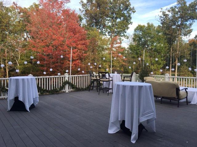 Our dinning hall set up for a wedding reception - with a beautiful view of the Virginia countryside